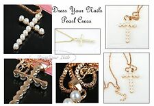 Cross + Chain Pendent - Korean Pearl Gold Necklace Religion Church Wedding