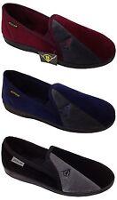 Mens Dunlop Full Comfy Slippers Slip On Navy Blue Grey Black Sizes UK 6-13