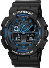 Mens Watch G-SHOCK GA100-1A2 Standard Analog-Digital Black & Blue 200m Watch
