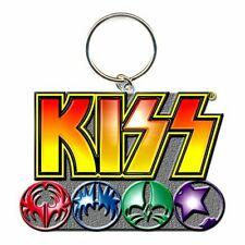 KISS KEYCHAIN LOGO & ICONS ENAMEL FILL BRAND NEW