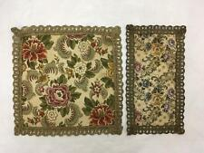 Lot of 2 Vintage Tapestry Type Doiles w Lacey Threaded Edging