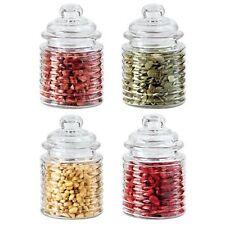 OGGI 4 Piece Ribbed Glass Mini Canister Set 10 Oz Airtight Lids Silicone Gaskets