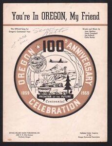 You're In Oregon My Friend 1938 Sheet Music