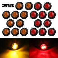 """20X Red + Amber LED Bullet Side Marker Light Flush Mount Truck Trailer 12V 3/4"""""""