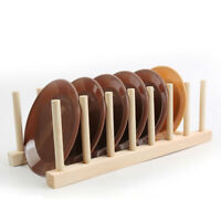 Wood Plate Holder Dish Rack Drain Storage Display Stand Kitchen Organizer QA