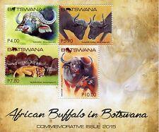Botswana 2015 MNH African Buffalo 4v M/S Buffaloes Lions Wild Animals Stamps