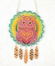 Window Hanging Decor Pink Owl bird ornament Nursery Suncatcher Glass decor