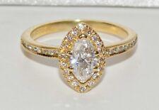Stupéfiant 18 carats Or Jaune 1.00 Diamant Marquise Bague Fiançailles - taille K