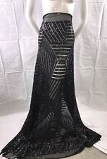 Black Geometric Sequins Embroider On A Mesh.wedding/bridal/nightgown/prom/fabric