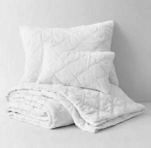 RH Teen Hand Stitched Washed Velvet Quilt F/Q WHITE