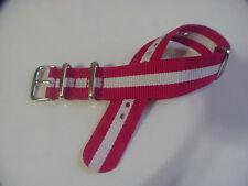 Red/White SKUNK BOND Nylon 22 mm G10 Military strap fits SEIKO dive Watch & more