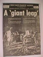 VINTAGE NEWSPAPER HEADLINE~NASA SPACE MEN ASTRONAUTS LAND MAN WALKS MOON SURFACE
