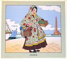 Stampa antica RAGAZZA Costume Tradizionale Tipico LIGURIA 1951 Old antique print
