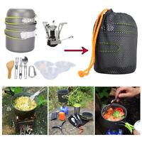 Portable Outdoor Camping Hiking Cookware Cooking Picnic Bowl Pot Pan Stove Set