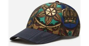 Dolce and Gabbana Lamé Jacquard Hat In Stained Glass Window Style Size M/58