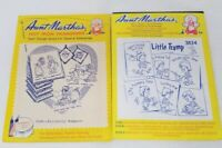 2 VINTAGE Aunt Martha's IRON-ON Embroidery TRANSFERS -  TEA TOWELS Little Tramp