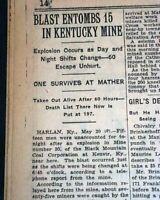 HARLAN KY Kentucky Kenvir Coal Mine EXPLOSION Disaster 1928 Old NYC Newspaper