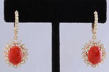8.40 Carati Naturale Corallo Rosso e Diamante 14K Solido Oro Giallo Orecchini
