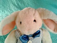 "HALLMARK 12""  PLUSH UNCLE E BUNNY RABBIT BOW TIE & STRIPPED VEST"