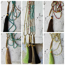 boho tassel necklace hand threaded individually knotted beads feather charm