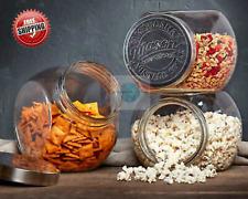 Mason Tilted Glass Jars with Lids Vintage Durable Crafted, 3-pack Set Food Safe