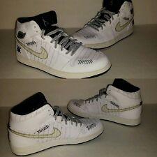 """Nike Air Jordan 1 """"Birmingham Barons Opening Day"""" 2008 white sz10.5  325514-102"""