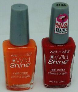 2 Shades Original Wet n Wild WILD SHINE Nail Polish RED RED 414A & CURSE 34354