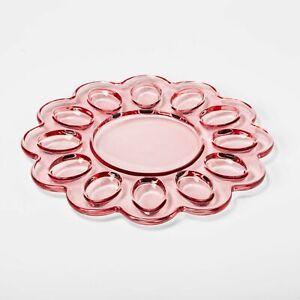 """Glass Deviled Eggs Egg Platter by Threshold Pink 12.5"""" x 12.5"""" Brand New"""