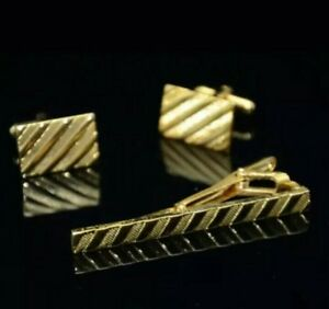 Gold Striped Tie Clip Cufflinks Formal Business Wedding Gift for Shirt Suit