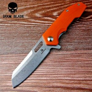 Wharncliffe Folding Knife Pocket Flipper Hunting Survival Tactical D2 G10 Handle