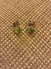 Sterling Silver And Green Peridot Stud Earrings