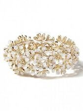 J.Crew White Enamel Layered Gold Flower Stretch Bracelet NWOT $49