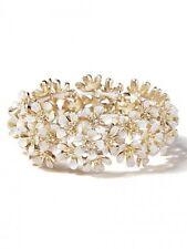 J.Crew White Enamel Layered Gold Flower Stretch Bracelet NWOT $49