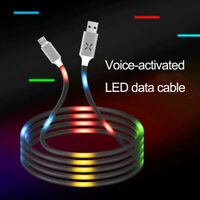 LED flowing Light Up USB Sync Charger Data Cable Charging Cord For Type-C
