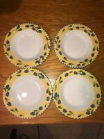 """Set of 4 PIER 1 PRIMULA ITALY PALERMO RIMMED SOUP BOWLS 8 3/4"""" Hand Painted"""