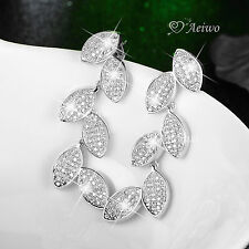 18K WHITE GOLD GF SIMULATED DIAMOND LEAVES LUXURY EARRINGS