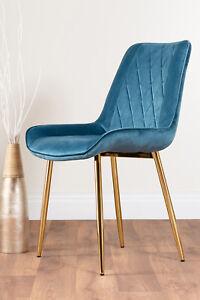 2x PESARO Velvet Luxury Dining Chairs Chrome SILVER GOLD BLACK Metal Legs