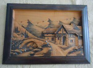 Ancien tableau bois sculpté montagne chalet relief