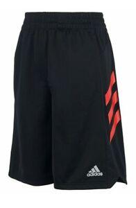 ADIDAS Boys' Angled 3-Stripes Black/Red Shorts - MEDIUM - NWT - MSRP$28.00