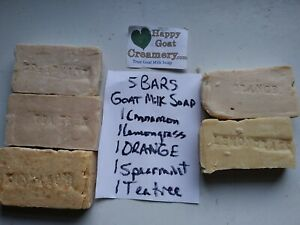 5 BARS MIXED LOT GOAT MILK SOAP HAPPY GOAT CREAMERY CINNAMON LEMONGRASS TEA TREE