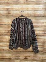 Alan Stuart Mens Vintage Cosby Coogi Style Knit Sweater Red Gray Large USA Made