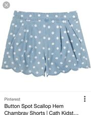 Cath Kidston Button Spot Scallop Hem Chambray Shorts Size 8 BNWT bought for £40