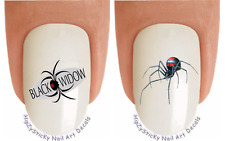 Nail Decals #212 ANIMAL Black Widow Spiders Waterslide Nail Art Transfer Sticker