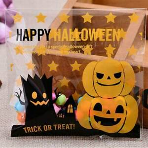 Halloween Smiley Face Coloured Cello Treat Bag Plastic Candy Sweet Gift Bag JJ