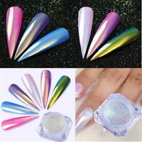 Color-Change Neon Aurora Mermaid Nail Art Glitter Powder Mirror Chrome Pigment❤