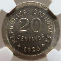 PORTUGAL 20 centavos 1920 NGC MS 62 UNC