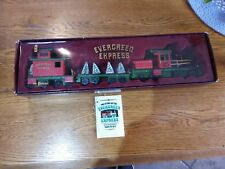 """Vintage Roman """"Evergreen Express """" musical wooden train with holiday decor"""