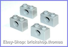 Lego Technic 4 x Stein Loch Technik - 3700 - Brick Light Bluish Gray NEU / NEW