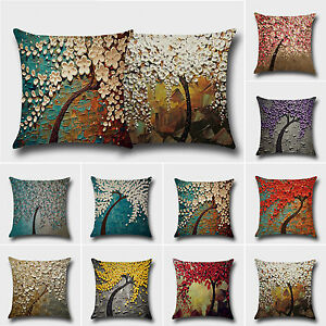 Floral Cushion Covers Cotton Linen Throw Pillow Case Car Sofa Living Room Decor