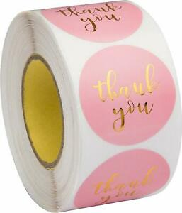 Stickers - Pink  & Gold Thank you  - Set of 50